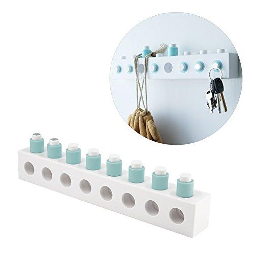 chasbete Bausteine Wandhaken DIY Kreative Multifunktions Stick auf selbstklebend Wand montiert Aufhänger für Schlüssel Hat Fell Handtasche Lagerung Organizer blau (Einzigartige Shop Handtaschen)