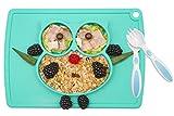 Baby Teller Schüssel Mini Silikon Tischset für Baby Kleinkinder und Kinder Tragbar Teller Baby Rutschfest Babyteller Tischset für die meisten Hochstuhlschalen(3Owl-Türkis)