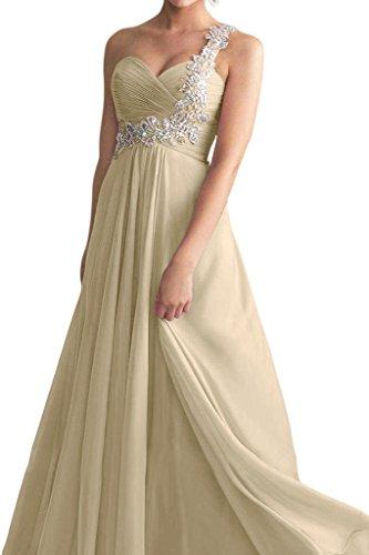Victory Bridal Ein-schulder Applikation Damen Festliche Abendkleider Abschlussballkleider Promkleid Champagner