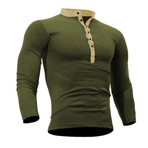 ❤️Veste Homme Sweatshirt Blouson❤️, Amlaiworld Hommes T-Shirt Printemps Automne Coton Tshirt Couleur Unie Tops Manches Longues (S, Vert de l'armée)