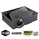 WiFi Wireless Projektor, Mini Videoprojektor LCD Portable Filmprojektor für Outdoor Outdoor 1080 P HD, Unterstützung HDMI USB AV VGA