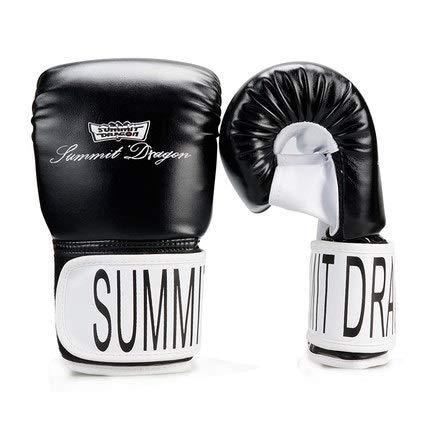 Erwachsene Sanda Handschuhe Half Finger Boxing Gelbe Linie Dew Thumbs Punch Bag Handschuhe (Color : Black, Size : L)