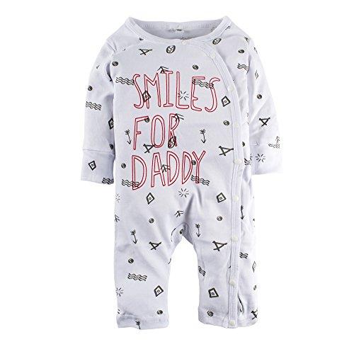 BIG ELEPHANT Unisex-Baby 1 Stück Grafik Print Snap-up Langarm Romper Pyjama O05