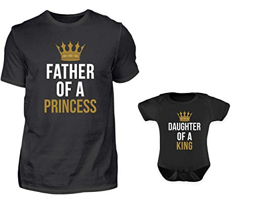 Vater Baby Partnerlook Set Tshirt Baby Body Strampler Set Father of A Princess Daughter of A King Rundhals Vater Tochter (XL & 0-6 Monate) -