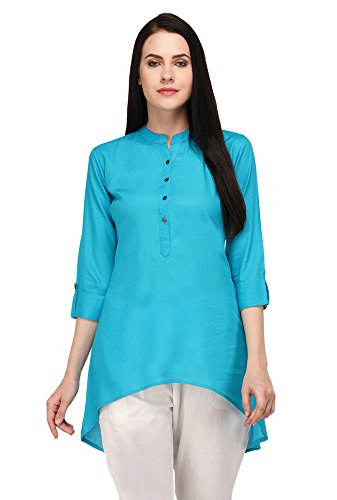 Pistaa Black Solid High Low Hem Short Kurti with Plus Size (Turquoise...