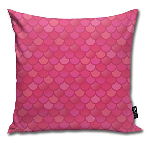 Ruffled Shell (Mermaid Fishs In Pink Decorative Modern Pillow Cover Square Luxury Cushion Case Durable Throw Pillow Cover Shell for Couch Sofa Bed Living Room 18x18 Inch)