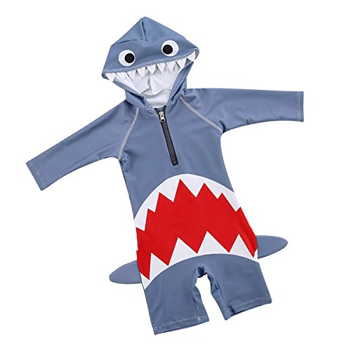 Toddler Boys Girls One-Piece Swimwear Shark Rash Guard Hooded Sun Protection Swimsuit