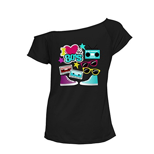 Northwest Exclusive Woman I Love The 80s leadies Rock Star Party Music Fancy Dress Costume Disco #(6363#Black T Shirt I Love The 80s Print#UK10#Womens)