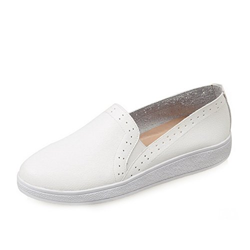 AllhqFashion Femme à Talon Bas Matière Mélangee Couleur Unie Tire Rond Chaussures Légeres Blanc