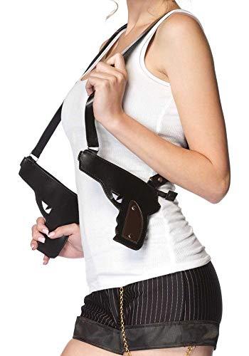 Preisvergleich Produktbild shoperama Schwarze Gangster Kunstleder Pistolen Taschen von Leg Avenue Schulterhalfter Schultertasche