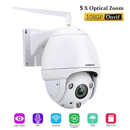 FLOUREON Caméra de Sécurité sans Fil Caméra IP PTZ Extérieur 1080P Caméra de Surveillance 2,0MP Etanche Zoom 5X IR-Cut Vision Nocturne Détection de Mouvement Vision à Distance par PC Smartphone P2P