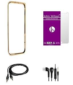 John Wilson Micromax A106 Unite 2 Metallic Bumper - Golden + Screen Cover + Ear Phone + Aux Cable