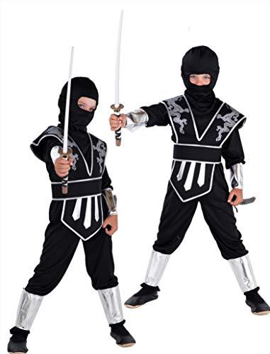 Magicoo Drago Ninja Costume per Bambini Ragazzi Nero Argento Taglie: 4-12 Anni - Costume di Carnevale Travestimenti Ninja Ragazzo (7-9 Anni)