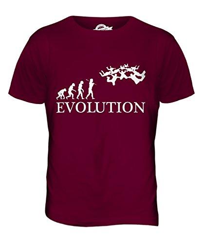 CandyMix Formationsspringen Fallschirmspringen Evolution Des Menschen Herren T Shirt Burgunderrot