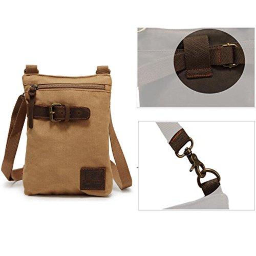 Gazechimp Männer Herren Tasche Leinwand Umhängetasche Schultertasche für Arbeit Freizeit, ideale Geschenkidee Khaki