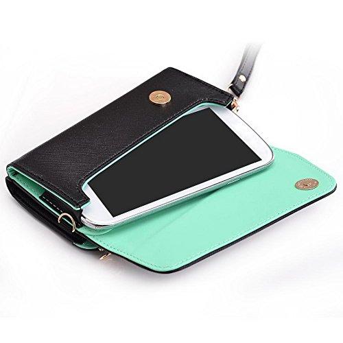 Kroo d'embrayage portefeuille avec dragonne et sangle bandoulière pour HTC Desire 320 Multicolore - Rouge/vert Multicolore - Black and Green