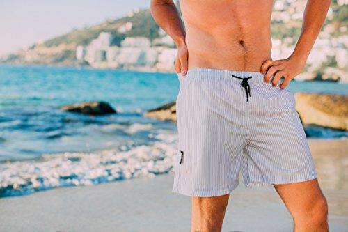 LUVANNI Herren Badeshorts Beachshorts Boardshorts Badehose *Blau Rosa Grau* Grau