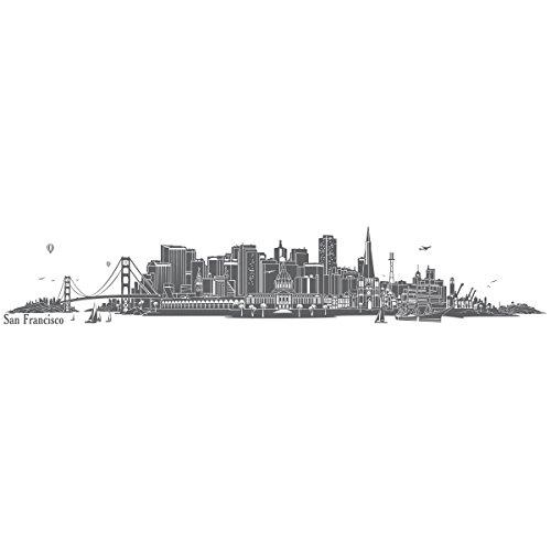 WANDKINGS Wandtattoo - Skyline San Francisco - 140 x 25 cm - Dunkelgrau - Wähle aus 6 Größen & 35 Farben