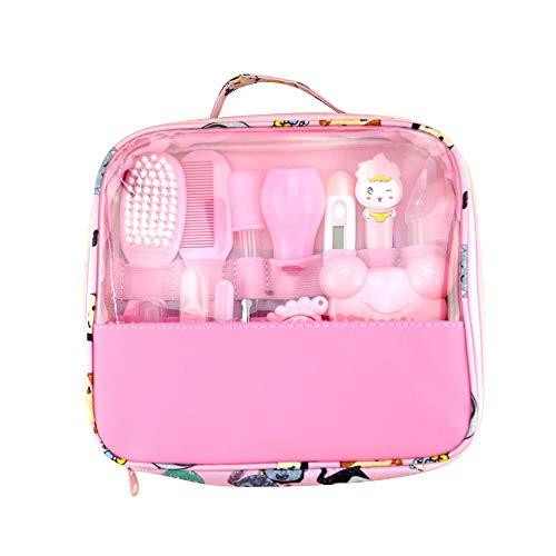 lulalula Baby Healthcare Kit Baby Nail Care Set per Neonato Baby Grooming Kit Beauty Set 13Pezzi con termometro e Borsa per Il Trasporto Rosa 24x21