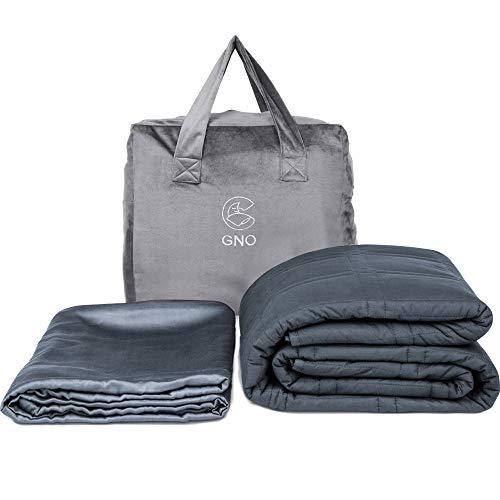 GnO Gewichtsdecke für Erwachsene & Bambus-Überzug - 9kg 152x203cm - 100% kühle Bio-Baumwolle - Weighted Blanket für Erwachsene mit Angst, Schlaflosigkeit oder Stress - Queen-Bett - Dunkelgrau