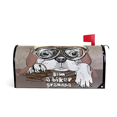 Alaza(mailbox cover) WOOR Bulldog in Motorradhelm, magnetisch, Standardgröße, -