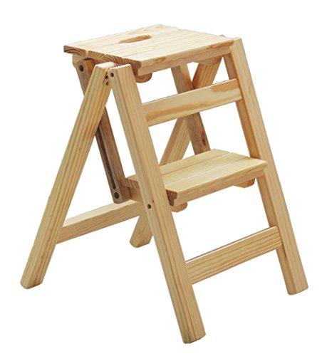 DY Schritt-Schemel, faltende hölzerne Leiter-Treppen-Multifunktionsfestes Holz DREI/Zwei Schritte Natura Schemel, 4 Farben Klappstufen (Farbe : A, größe : 47cm)