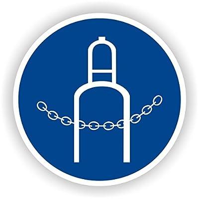 Druckflasche durch Kette sichern / Gebotszeichen / GE-10 / Sicherheitszeichen / Piktogramme / DIN EN ISO 7010