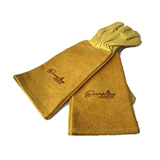 Rose Pruning Gloves for Men and Women. Thorn Proof Goatskin Leather Gardening Gloves with Long Cowhide Gauntlet to Protect Your Arms Until the Elbow (Large, Yellow)
