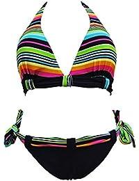 Maillot de bain femme 2 pièces bikini triangle noir et multicolore
