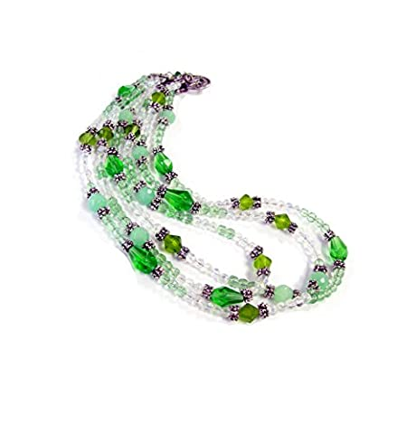 Linpeng 040426-02 3 Layer Green & Clear Bead Strands Faceted Glass Beads with Toggle Necklace