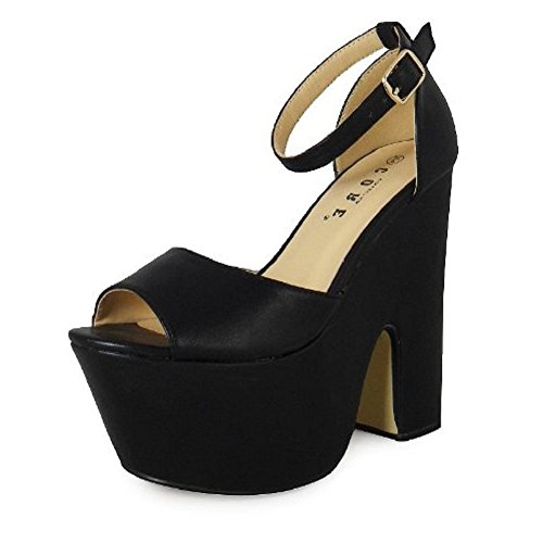 Chaussures Talons Loudlook Nouveau Dames Des Femmes Peeptoe Platform Boucle Découpe Compensées Judiciaires 3-8 Black