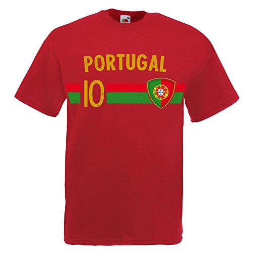 Fußball WM T-Shirt Fan Artikel Nummer 10 - Weltmeisterschaft 2018 - Länder Trikot Jersey Herren Damen Kinder Portugal Portuguesa S