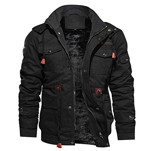 Riou Herren Bomberjacke Winterjacke Winter Baumwolle Militär Jacken Pocket Tactical Verdicken Übergangs Mäntel Draussen Windbreaker Hochwertig Fliegerjacke (L, Schwarz)