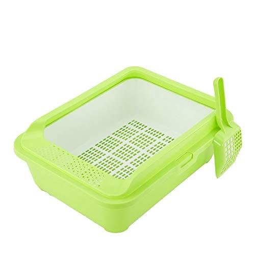 MTCWD Katzentoilette/Sichtung Toilette/Haustier Katze Wurf Box/Können Abnehmbar Tragbar Behälter (Color : Green, Size : 51 * 40 * 18.5cm) -