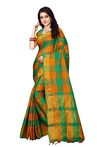 Leriya Fashion Women's Cotton Silk Saree (Green-Yellow)