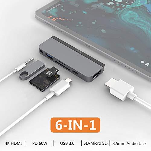 HyperDrive USB C Hub 6-in-1 mit Type-C,USB 3.1,HDMI,SD/MicroSD Slot,Audio Jack,Speziell für das Neue iPad Pro 2018,Space Grau Ipad 1 Docking-station