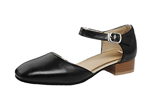 AgeeMi Shoes Donna PU Tacco Basso Buckle Ballet-Flats Nero