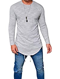 Alician Men Simple Casual Solid Color Round Neck T-Shirt Slim Long Sleeve Tops Clothes