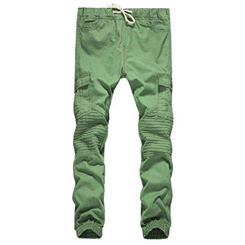 Herren Hosen Btruely Beiläufig Hosen Tasche Kordelzug Elastisch Taille Mitten Männer Hose (L, Armee Grün) (Hose Kordelzug Grüner)