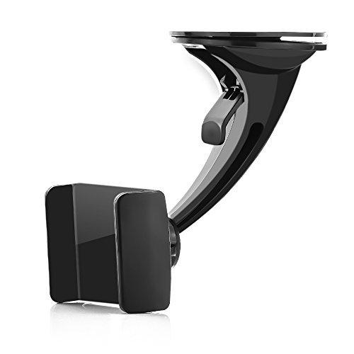 deleyCON Universal KFZ-Halterung für Handys & Smartphones - für Apple iPhone X / 8 / 7 / 6S / 6 (4,7 Zoll) / SE / 5S / 5C / 5 - SAMSUNG S8 / S7 / S7 Edge / S6 / S6 Edge / S5 / S4 / S3 / A3 2016 / A5 / J5 - kräftiger Saugnapf - Schnellverschluss - 360° Rotation Kugelgelenk - 55mm bis 82mm Breite