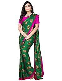 Jaanvi Fashion Crepe Silk Elephant Motifs Kalamkari Printed Saree (sana-silk-Green)
