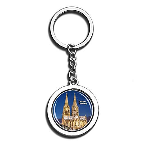 Kölner Dom Deutschland Schönheit 3D Kristall Kreative Schlüsselbund Spinning Runde Gute Edelstahl Schlüsselanhänger Ring Travel City Souvenir Collection