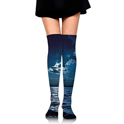OQUYCZ Woman's Majestic Dramatic Sky Clouds and Full Moon Over Seascape Calm Tranquil Ocean Popular High Boot Socks