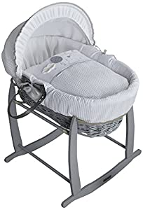 Clair de Lune Wicker Moses Basket, Grey, Over The Moon