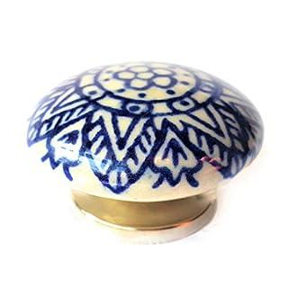 French Furniture Fittings fff Keramikknöpfe, für Küchenschränke, Schrank, Truhe, Möbel, Schubladen, Griffe, Porzellan, große blaue Blumen, Vintage-Stil, Shabby Chic, 38 mm, 6 Stück