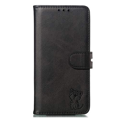 Lomogo Huawei nova 5T / Honor 20 Hülle Leder, Schutzhülle Brieftasche mit Kartenfach Klappbar Magnetisch Stoßfest Handyhülle Case für Huawei nova 5T - LOXLI010358 Schwarz