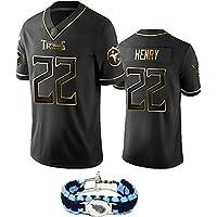 2020 niños y Adultos último Uniforme de Camiseta de fútbol Americano de Oro Negro más Popular, Titans Henry Top Rugby Kit, Pulsera-XL