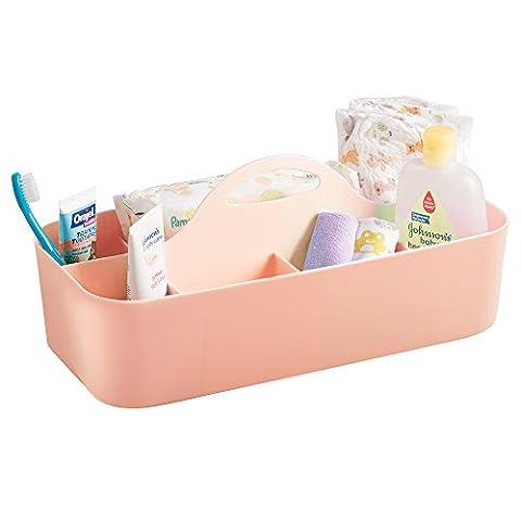 mDesign boîte de rangement pour la chambre d'enfant – pour la conservation d'aliments pour bébé – 11 compartiments – système de rangement en plastique pour accessoires de bébé et Cie, corail – poignée intégrée