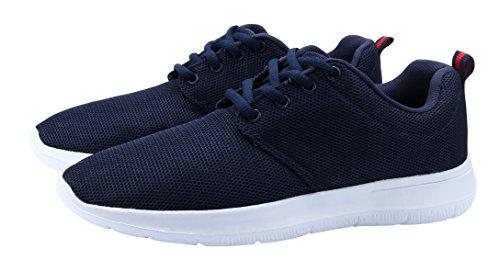 Santiro Chaussures Homme de Running Entrainement de Sports Sneakers. Bleu Marine