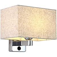 William 337 Wandleuchte E27 Schlafzimmer LED Nachttischlampe mit Schalter Stoff Wandleuchte (Farbe : Weißes Licht) preisvergleich bei billige-tabletten.eu